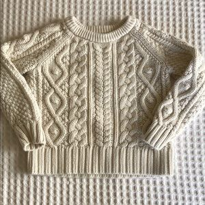 Creamy white cable knit sweater